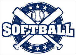 Vintage Style Softball Sport Stamp Sticker
