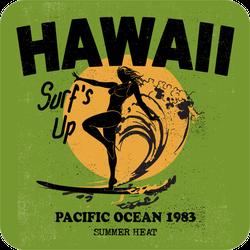 Vintage Surf Illustration And Girl Sticker