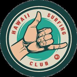Vintage Surfing Club Male Hand Showing Surfer Shaka Sticker
