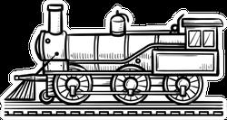 Vintage Train Hand Drawn Outline Doodle Sticker