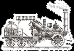 Vintage Train On A White Background Sketch Sticker