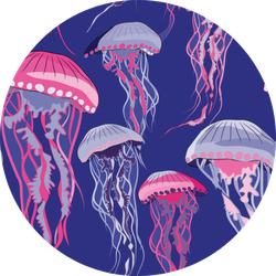 Violet And Purple Jellyfish Pattern Illustration Sticker