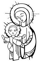 Virgin Mary and Baby Jesus Illustration Sticker