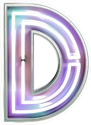 Vivid Neon Font With Fluorescent Tubes Letter D Sticker