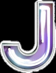 Vivid Neon Font With Fluorescent Tubes Letter J Sticker
