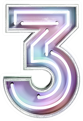 Vivid Neon Font With Fluorescent Tubes Number 3 Sticker