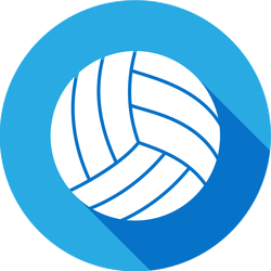 Volleyball Icon With Long Shadow Circle Sticker