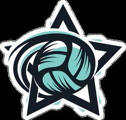 Volleyball Star Sport Logo Sticker