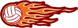 Volleyball With Orange and Yellow Hotrod Flames Sticker