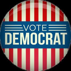 Vote Democrat Retro Campaign Button Sticker