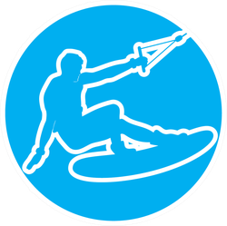 Wakeboard On Blue Sticker