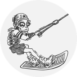 Wakeboarder In Helmet And Life Jacket Sticker