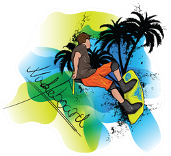 Wakeboarder With Palmtrees Sticker