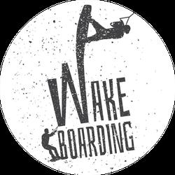Wakeboarding Illustration Black & White Sticker