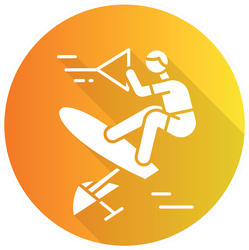 Wakeboarding Orange Illustration Sticker