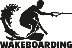 Wakeboarding Text With Boarder Sticker