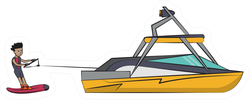 Wakeboarding With Boat Illustration Sticker