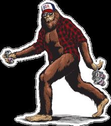 Walking Usa American Sasquatch Gorilla Ape Sticker