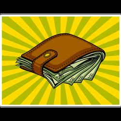 Wallet of Cash Pop Art Style Sticker