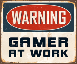 Warning Gamer At Work Sign Sticker