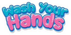 Wash Your Hands Bubble Letters Sticker