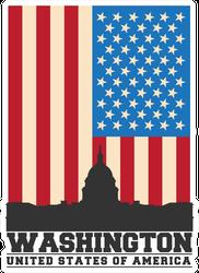 Washington DC And US Flag Sticker