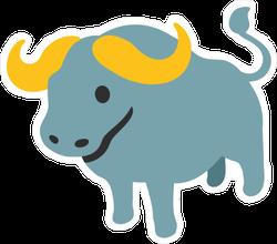 Water Buffalo Cartoon Character Sticker