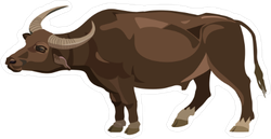 Water Buffalo Cartoon Sticker