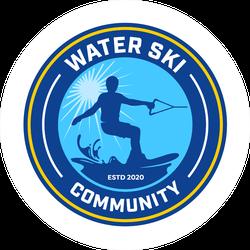 Water Ski Community Logo With Badge Style Sticker
