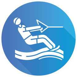 Water Skiing Blue Flat Design Sticker