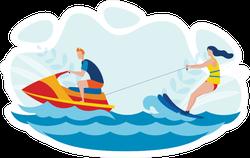 Water Skiing Entertainment Illustration Sticker