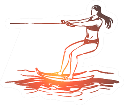 Water Skiing In A Gradient Sea Sticker