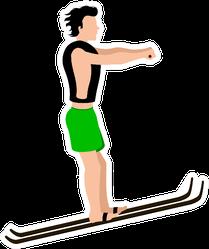 Water Skiing Man Image Illustration Sticker