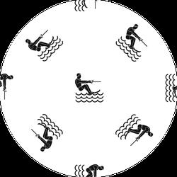 Water Skiing Man Pattern Repeat Sticker