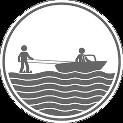 Water Skiing Sport Icon Sticker