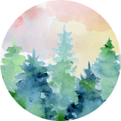 Watercolor Abstract Woddland, Fir Trees Silhouette Sticker
