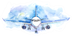 Watercolor Airplane Art Sticker