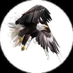 Watercolor American Eagle Flying Sticker
