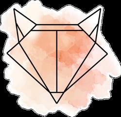 Watercolor and Geometric Fox Head Design Sticker