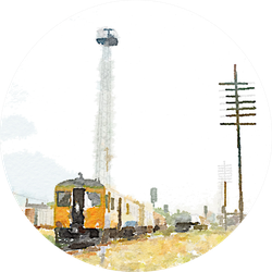 Watercolor Art Painted Of Old Train On Railway Sticker