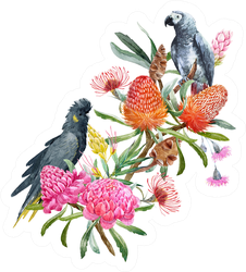 Watercolor  Australian Floral Bouquet And Cockatoos Sticker