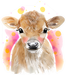 Watercolor Baby Cow Sticker