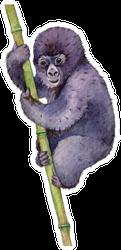 Watercolor Baby Mountain Gorilla Illustration Sticker