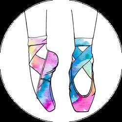 Watercolor Ballet Dance Shoes Sticker