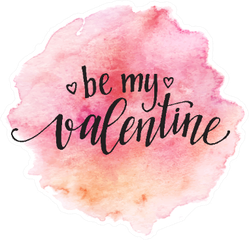 Watercolor Be My Valentine In Pink Circle Sticker