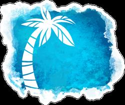 Watercolor Blue Grunge Palm Tree Sticker