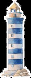 Watercolor Blue Stripe Lighthouse Illustration Sticker
