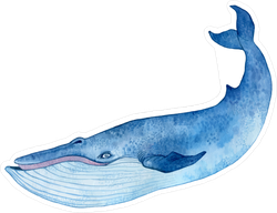 Watercolor Blue Whale Sticker