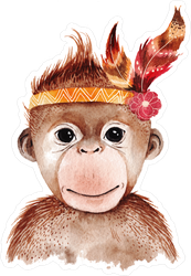 Watercolor Boho Monkey With Feathers Sticker