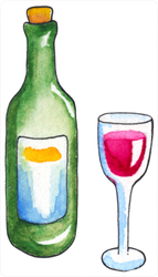 Watercolor Bottle And Glass Of Red Wine Sticker
